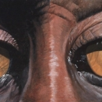 Robin-Huffman-Maggie-May-latex-painting-mandrill-orphan-Ape-Action-Africa-Cameroon